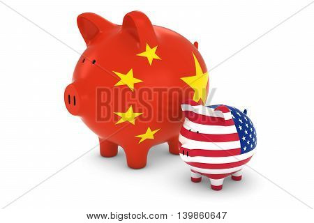 Chinese Flag And Us Flag Piggybanks Exchange Rate Concept 3D Illustration