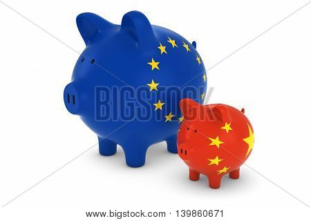 European Flag And Chinese Flag Piggybanks Exchange Rate Concept 3D Illustration