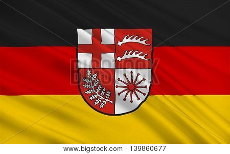 Flag of Losheim am See is a municipality in the district Merzig-Wadern in Saarland Germany. 3d illustration