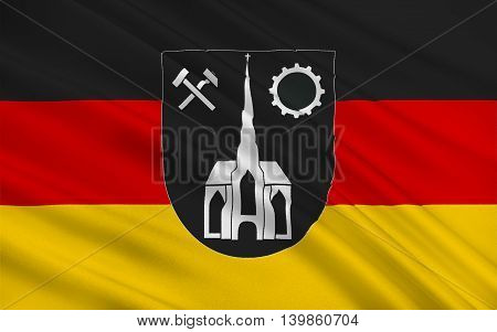 Flag of Neunkirchen is a town and a municipality in Saarland Germany. 3d illustration