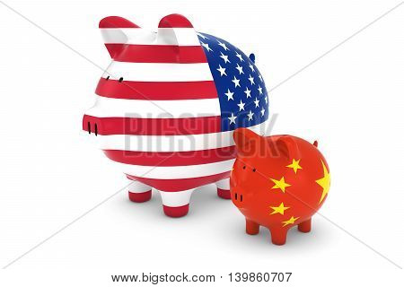 American Flag And Chinese Flag Piggybanks Exchange Rate Concept 3D Illustration