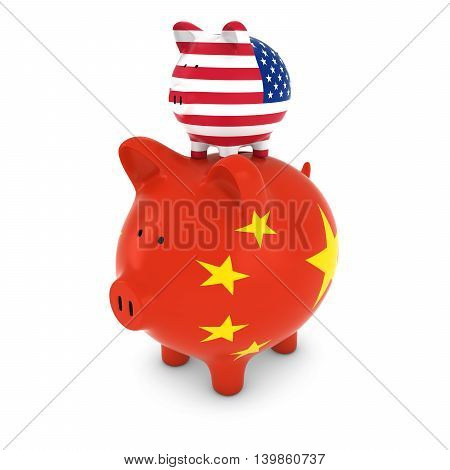 Us Flag Piggy Bank Piggybacking On Chinese Piggy Bank Economic Concept 3D Illustration