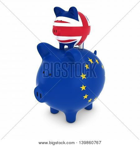 Uk Flag Piggy Bank Piggybacking On European Piggy Bank Economic Concept 3D Illustration