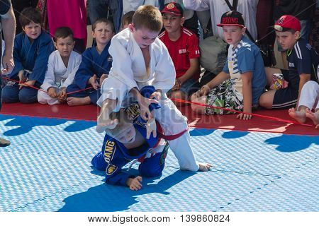 Young Judo Wrestlers 8-10 Years On The Demonstration Performances.
