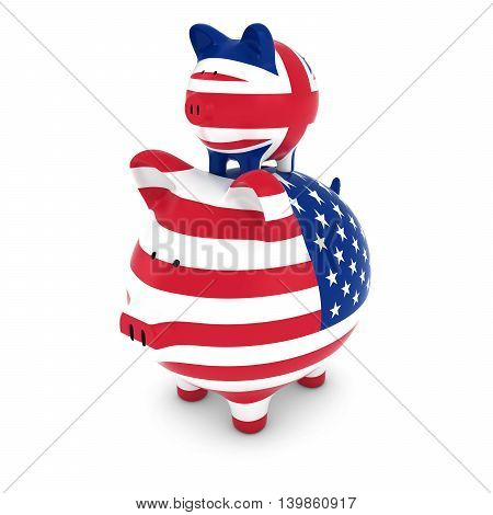UK Flag Piggy Bank Piggybacking on US Piggy Bank Economic Concept 3D Illustration