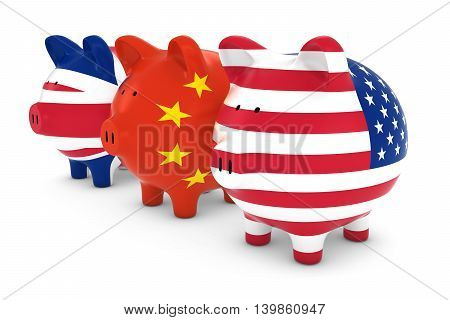 British Chinese And American Flag Piggy Banks 3D Illustration