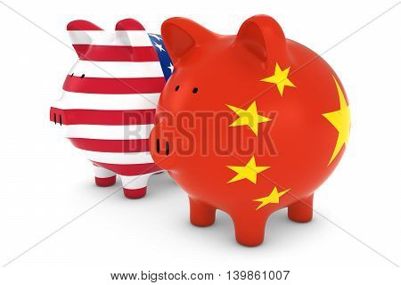 American And Chinese Flag Piggy Banks International Trade Concept 3D Illustration