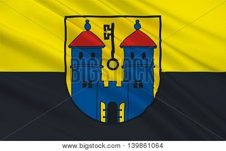 Flag of Haldensleben is a town in Saxony-Anhalt Germany. 3d illustration