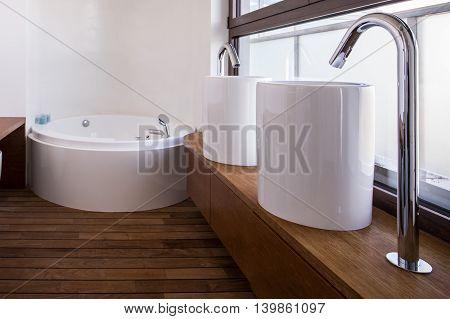 Modern Washbasins In Luxury Bathroom