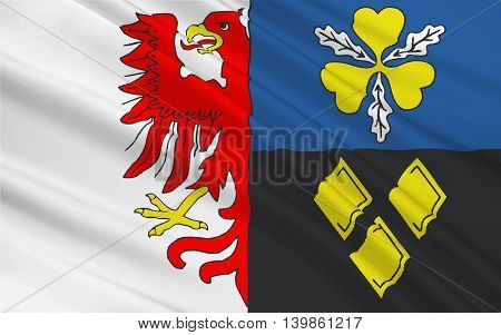 Flag of Stendal is a district in the north-east of Saxony-Anhalt Germany. 3d illustration