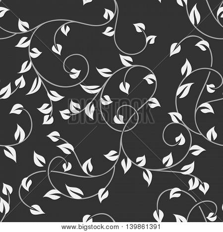 Seamless leaves monochrome vector pattern. Wrapping paper, wallpaper or upholstery texture.