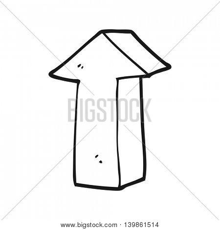 freehand drawn black and white cartoon arrow