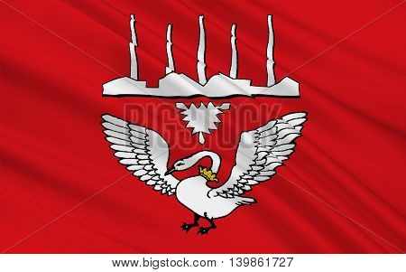Flag of Neumunster is an urban municipality in the middle of Schleswig-Holstein Germany. 3d illustration