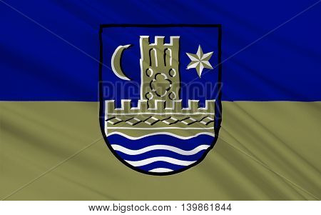 Flag of Schleswig is a town in the northeastern part of Schleswig-Holstein Germany. 3d illustration