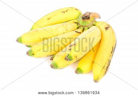 Yellow bananas bunch isolated on white background