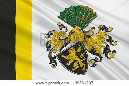 Flag of Gera is the third-largest city in Thuringia Germany. 3d illustration