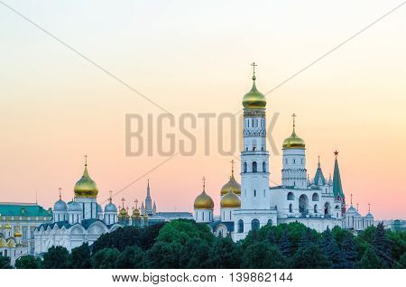 Ivan the Great bell tower at sunset in Moscow Kremlin, Russia