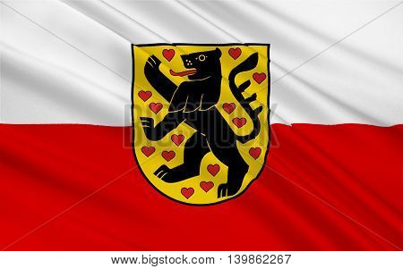 Flag of Weimar is a city in the federal state of Thuringia Germany. 3d illustration