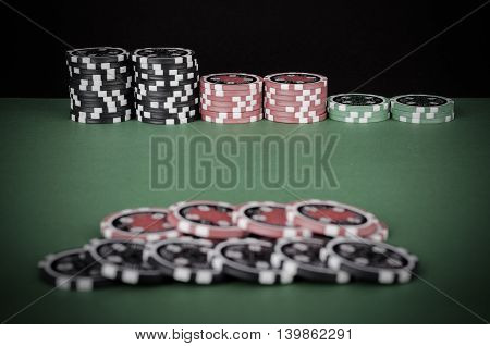 Green Casino Table With Red And Black Chips - Vintage