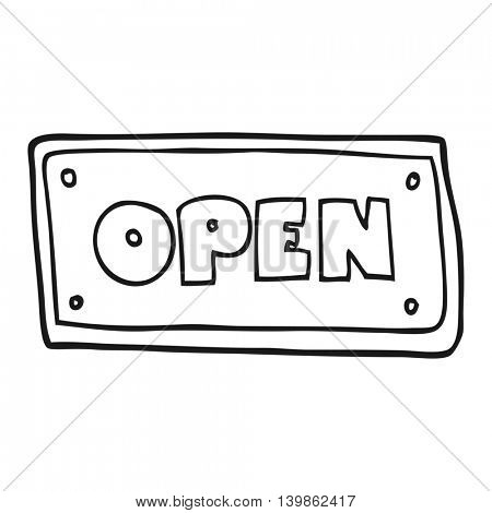 freehand drawn black and white cartoon open sign