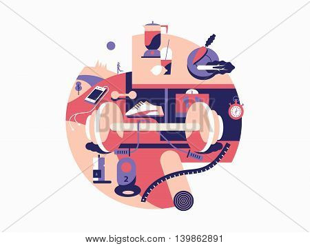 Lifestyle health and sport fitness. Activity life, training and good nutrition, vector illustration