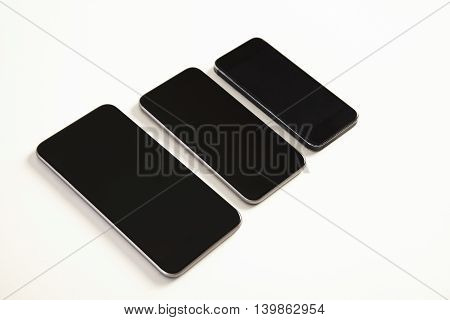 Different Generations Of Modern Smartphones Isolated