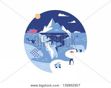 Iceberg in sea or ocean. Antarctic environment and ice mountain in water. Vector illustration