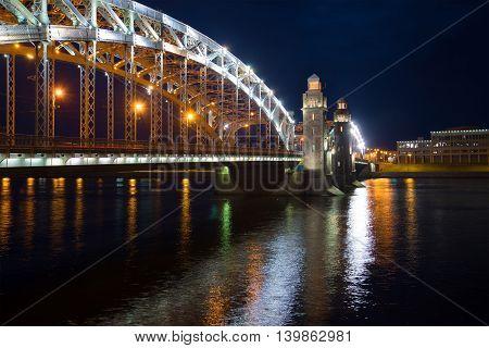 June night at the bridge of Peter the Great. Saint Petersburg, Russia