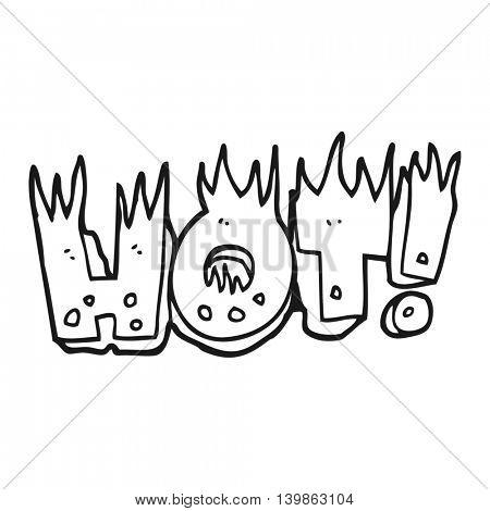 freehand drawn black and white cartoon hot symbol