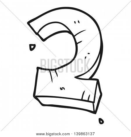 freehand drawn black and white cartoon stone number two