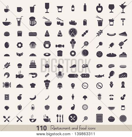 Big set of food and kitchen icons for mobile web and applications.