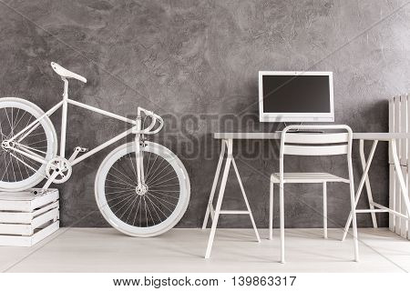 Desk,computer And Bicycle