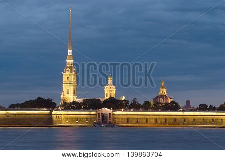 View of the Peter and Paul fortress, june night. Saint Petersburg, Russia