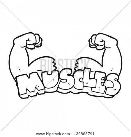 freehand drawn black and white cartoon muscles symbol