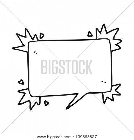 freehand drawn black and white cartoon speech bubble symbol