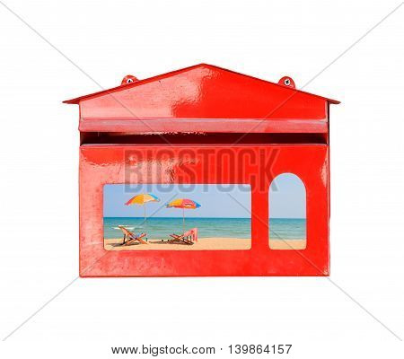 Beach chair and umbrella on sand beach in red mail box on white background, Delivery summer concept.