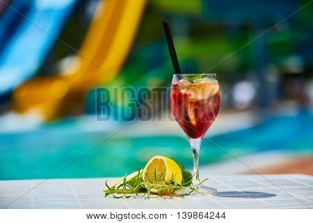 The red tasty cocktail background swimming pool.