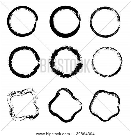 Set of Hand Drawn Scribble Circles, vector design elements. Template