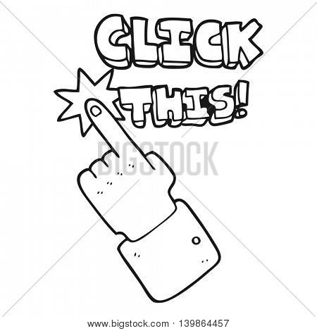 freehand drawn black and white cartoon click this symbol with hand