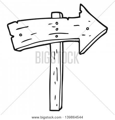 freehand drawn black and white cartoon wooden direction arrow