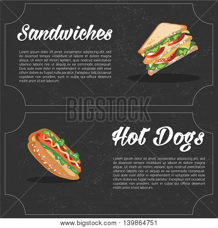 vector cartoon fast food combo - Sanwich and hot dog. food elements for menu