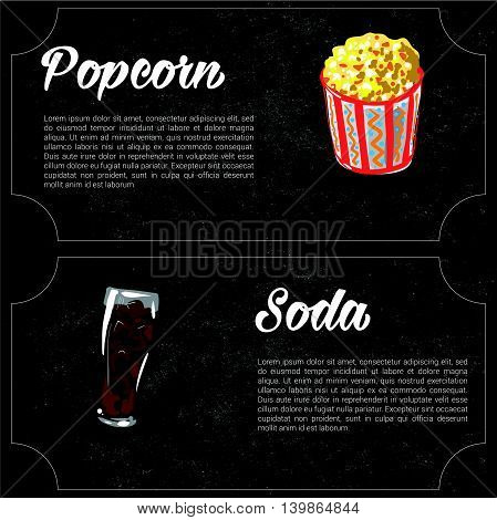 vector cartoon fast food combo - popcorn and soda. food elements for menu