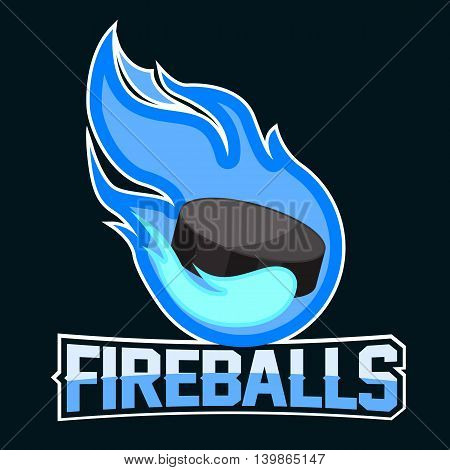 Flying soccer ball with green fire flames on dark background. Design element. Vintage item. Modern professional logo for sport team