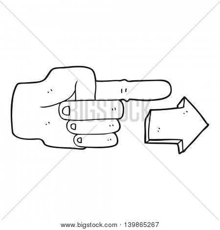 freehand drawn black and white cartoon pointing hand with arrow