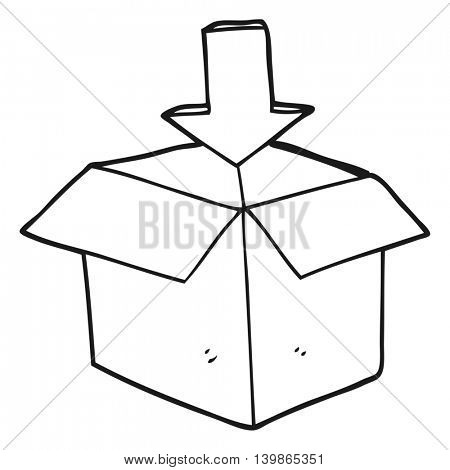 freehand drawn black and white cartoon box with arrow download storage symbol