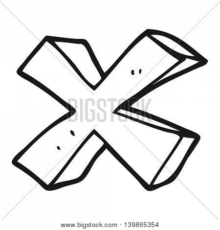 freehand drawn black and white cartoon negative x symbol