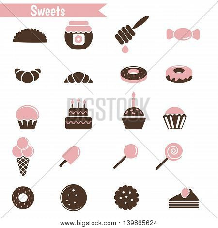 Set of dessert icons on white background.