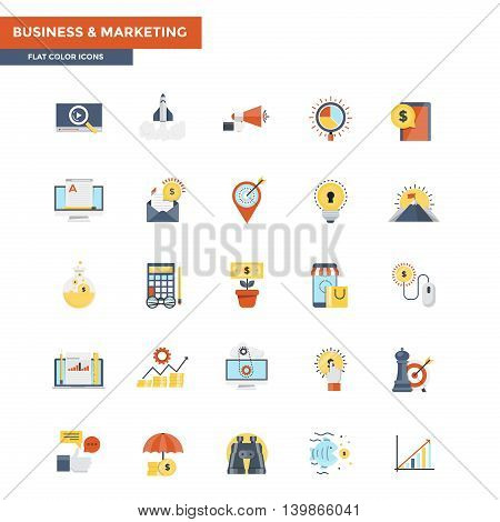 Modern flat design icons for the Business and Marketing. Icons for web and app design easy to use and highly customizable. Vector
