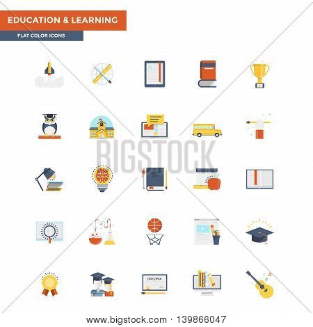 Modern flat design icons for Education and Learning. Icons for web and app design easy to use and highly customizable. Vector