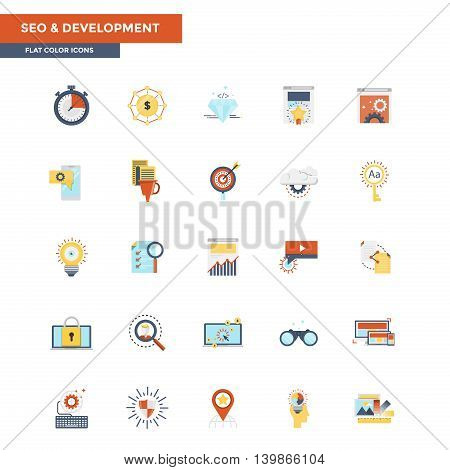 Modern flat design icons for Seo and Development. Icons for web and app design easy to use and highly customizable. Vector